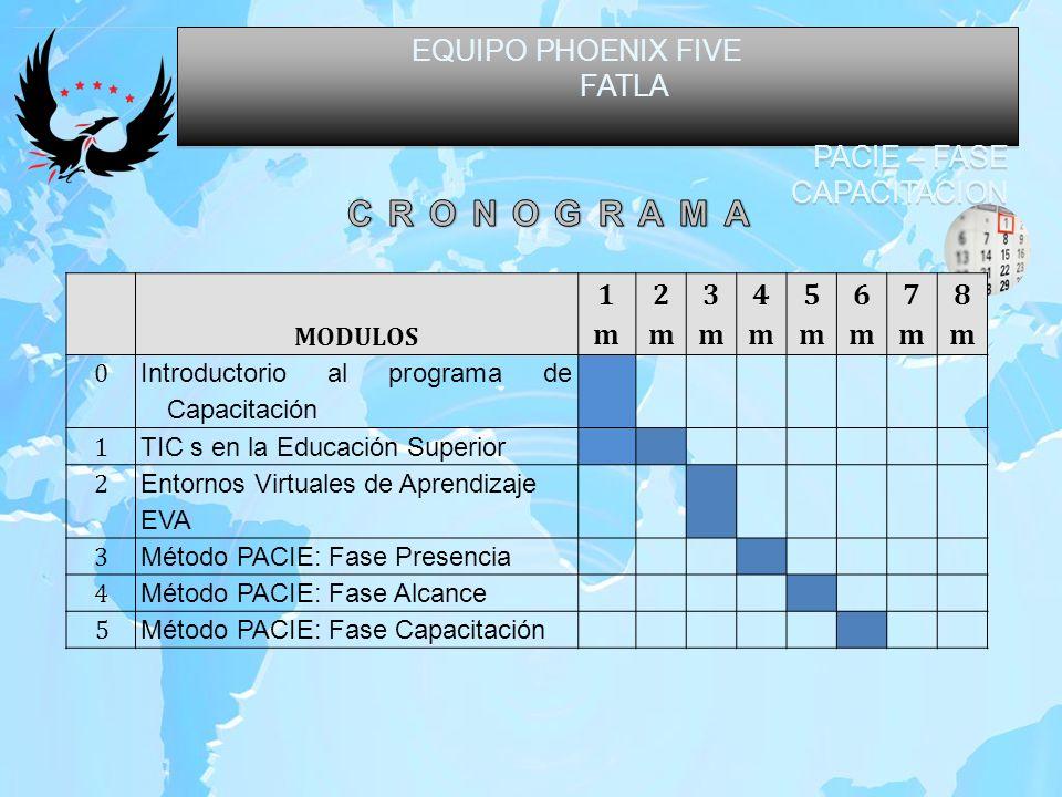 EQUIPO PHOENIX FIVE FATLA PACIE – FASE CAPACITACION EQUIPO PHOENIX FIVE FATLA PACIE – FASE CAPACITACION MODULOS 1m1m 2m2m 3m3m 4m4m 5m5m 6m6m 7m7m 8m8