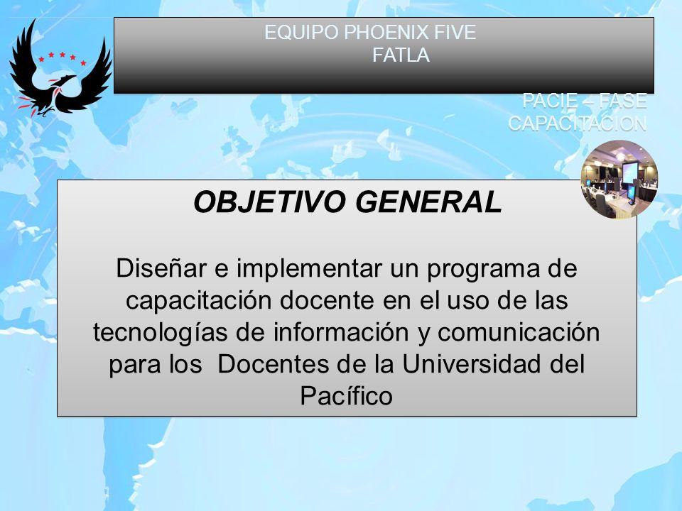 EQUIPO PHOENIX FIVE FATLA PACIE – FASE CAPACITACION EQUIPO PHOENIX FIVE FATLA PACIE – FASE CAPACITACION OBJETIVOS ESPECIFICOS Masificar el uso de las tecnologías de Información y Comunicación en los Docentes de la Universidad.