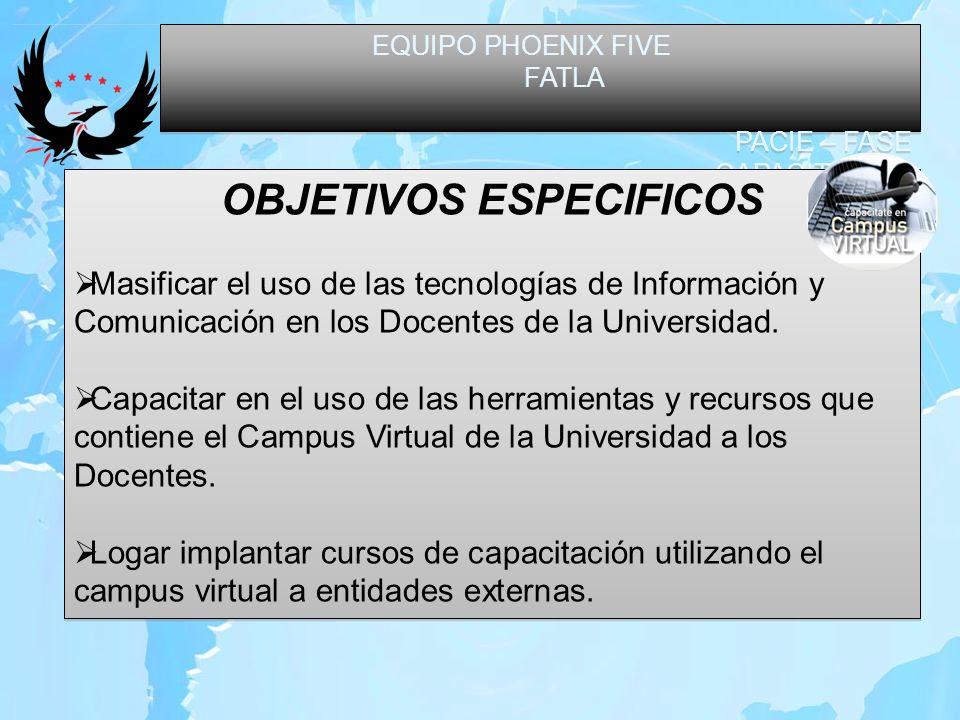 EQUIPO PHOENIX FIVE FATLA PACIE – FASE CAPACITACION EQUIPO PHOENIX FIVE FATLA PACIE – FASE CAPACITACION OBJETIVOS ESPECIFICOS Complementar la educación presencial con educación a distancia utilizando el Campus virtual.