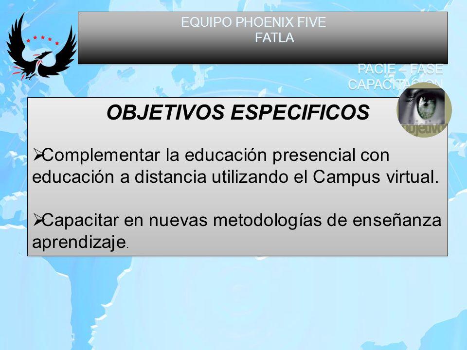 EQUIPO PHOENIX FIVE FATLA PACIE – FASE CAPACITACION EQUIPO PHOENIX FIVE FATLA PACIE – FASE CAPACITACION OBJETIVOS ESPECIFICOS Complementar la educació