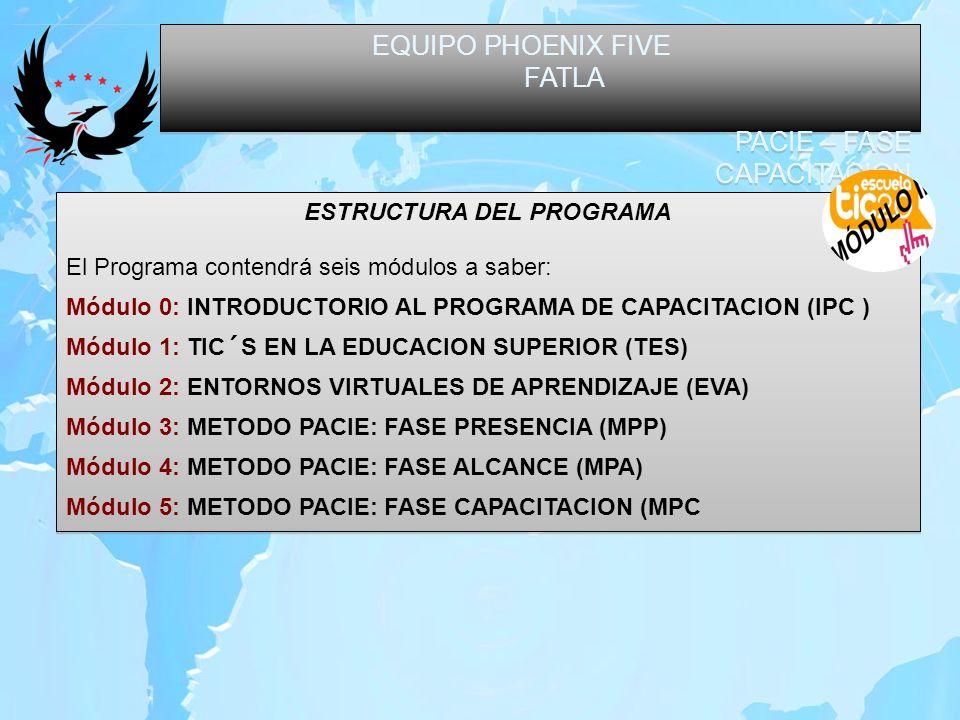 EQUIPO PHOENIX FIVE FATLA PACIE – FASE CAPACITACION EQUIPO PHOENIX FIVE FATLA PACIE – FASE CAPACITACION ESTRUCTURA DEL PROGRAMA El Programa contendrá