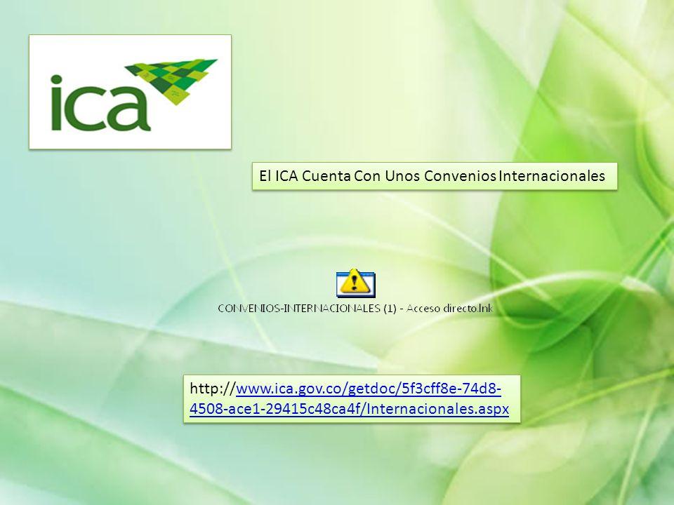 El ICA Cuenta Con Unos Convenios Internacionales http://www.ica.gov.co/getdoc/5f3cff8e-74d8- 4508-ace1-29415c48ca4f/Internacionales.aspxwww.ica.gov.co