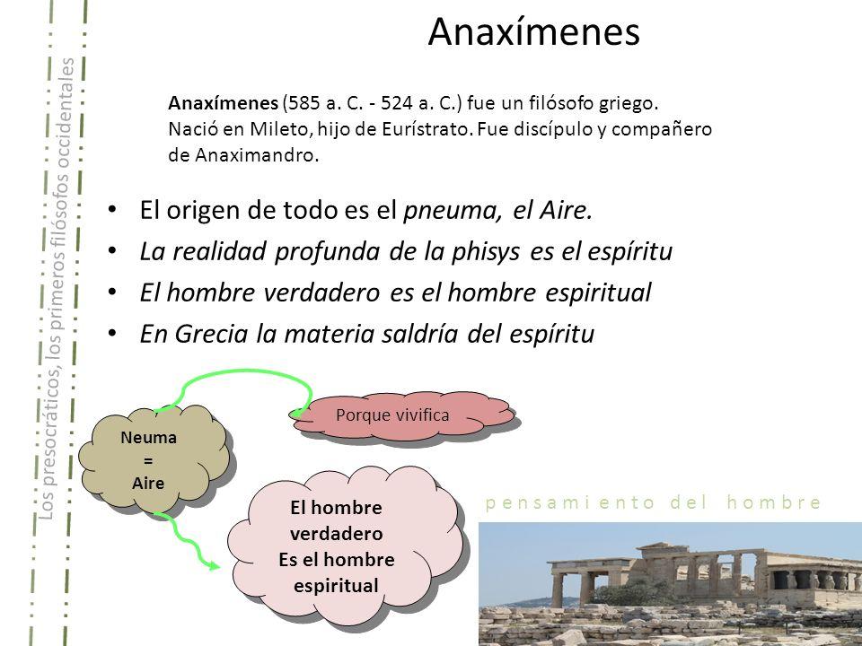 Los presocráticos, los primeros filósofos occidentales p e n s a m i e n t o d e l h o m b r e Anaxímenes El origen de todo es el pneuma, el Aire.