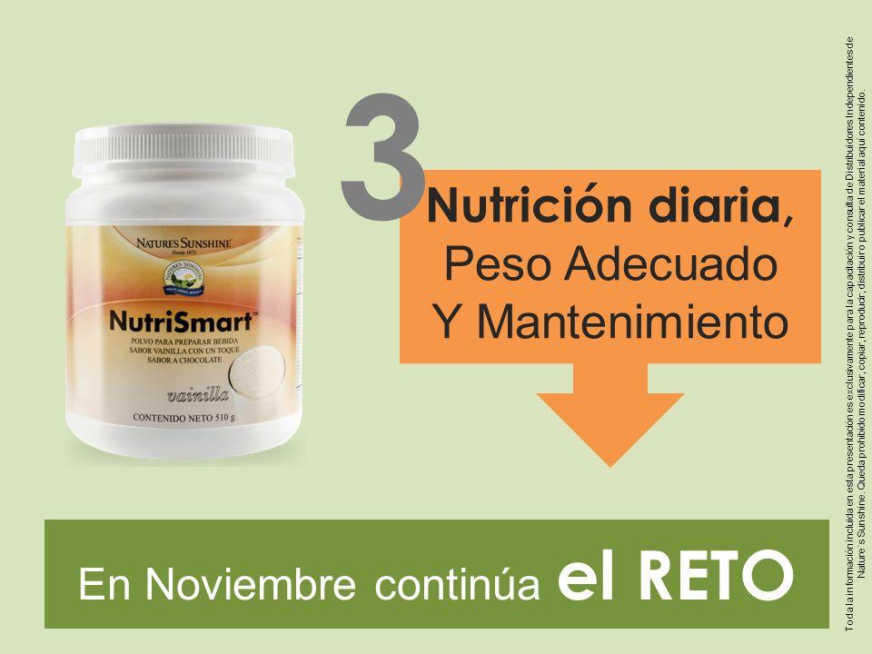 En Noviembre continúa el RETO Nutrición diaria, Peso Adecuado Y Mantenimiento 3 Toda la información incluida en esta presentación es exclusivamente pa