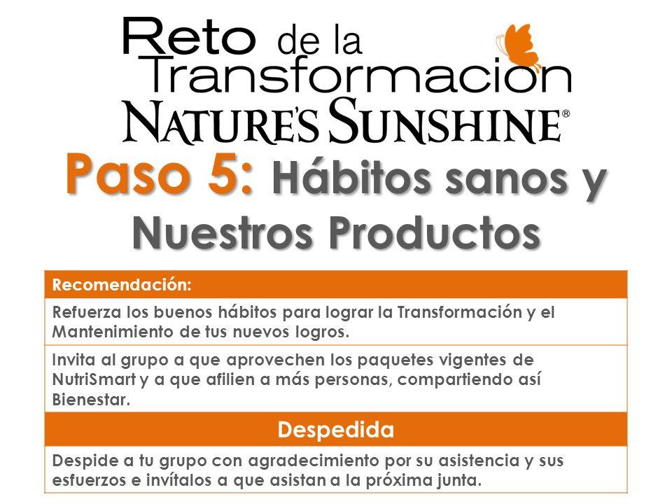 pósit Paso 5: Hábitos sanos y Nuestros Productos Recomendación: Refuerza los buenos hábitos para lograr la Transformación y el Mantenimiento de tus nu