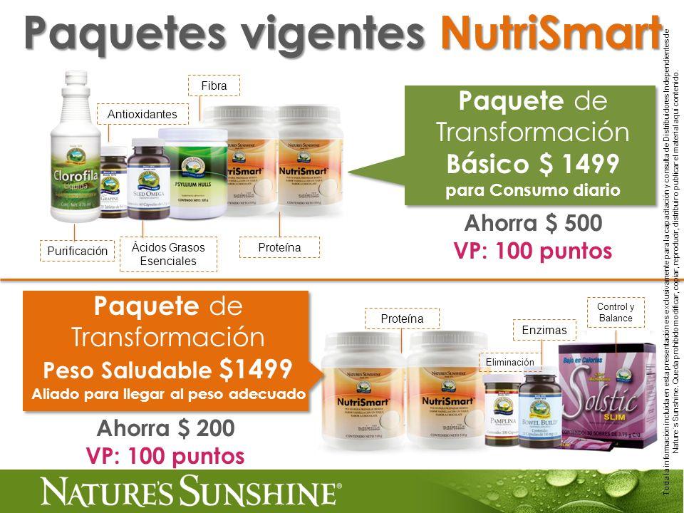 Paquete de Transformación Básico $ 1499 para Consumo diario Ahorra $ 500 VP: 100 puntos Paquetes vigentes NutriSmart Purificación Antioxidantes Fibra