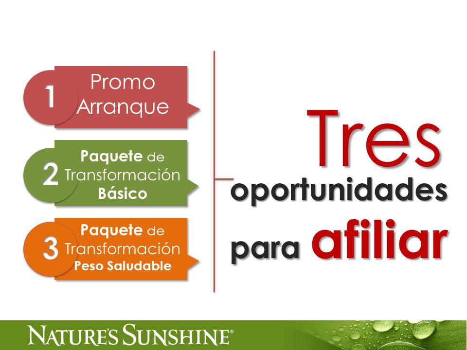 oportunidades para afiliar Tres Promo Arranque Paquete de Transformación Básico Paquete de Transformación Peso Saludable