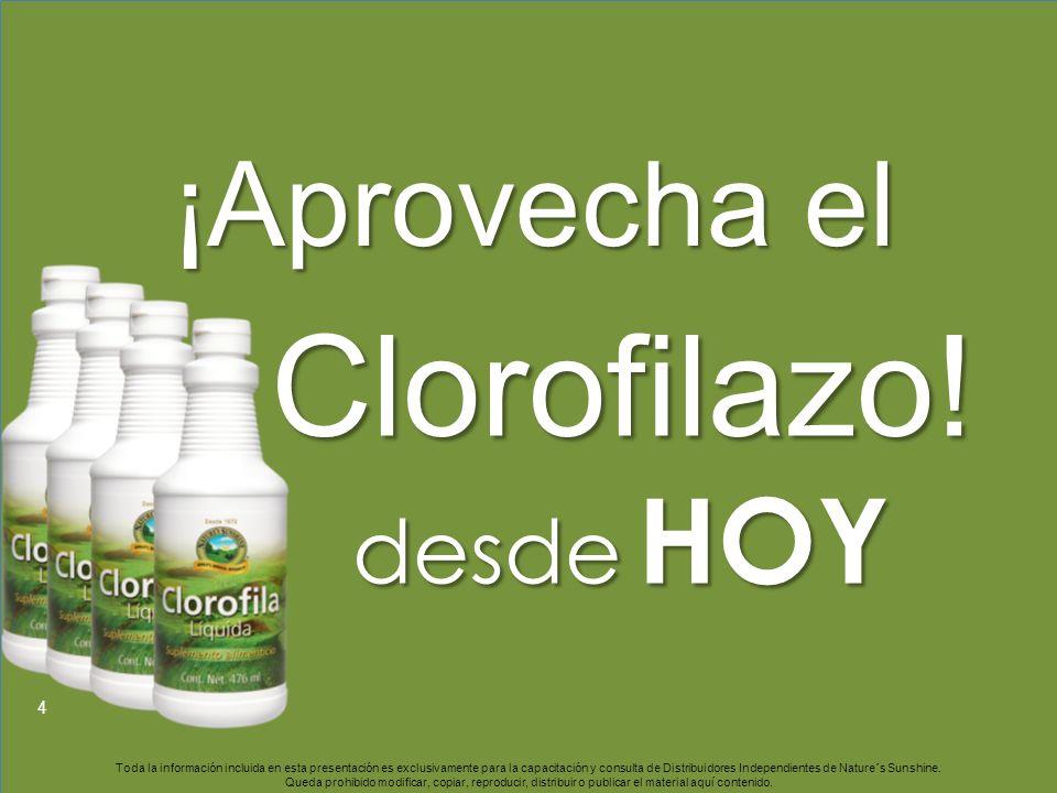 4 Clorofilazo! desde HOY ¡Aprovecha el Toda la información incluida en esta presentación es exclusivamente para la capacitación y consulta de Distribu