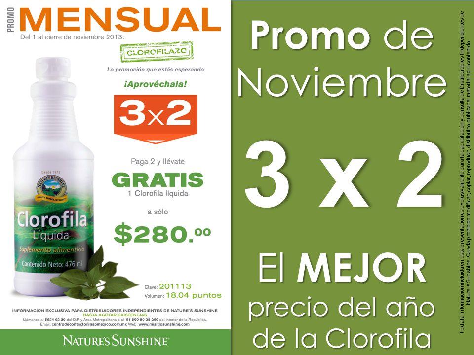 3 x 23 x 2 Promo de Noviembre El MEJOR precio del año de la Clorofila Toda la información incluida en esta presentación es exclusivamente para la capa
