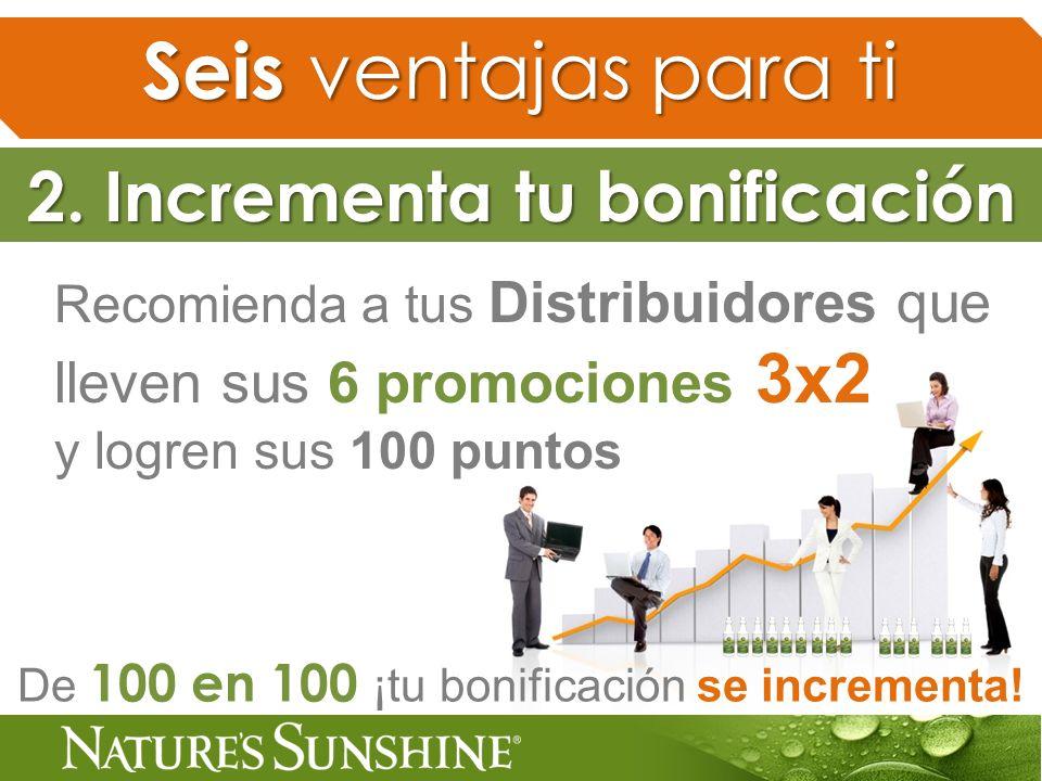 De 100 en 100 ¡tu bonificación se incrementa! 2. Incrementa tu bonificación Recomienda a tus Distribuidores que lleven sus 6 promociones 3x2 y logren