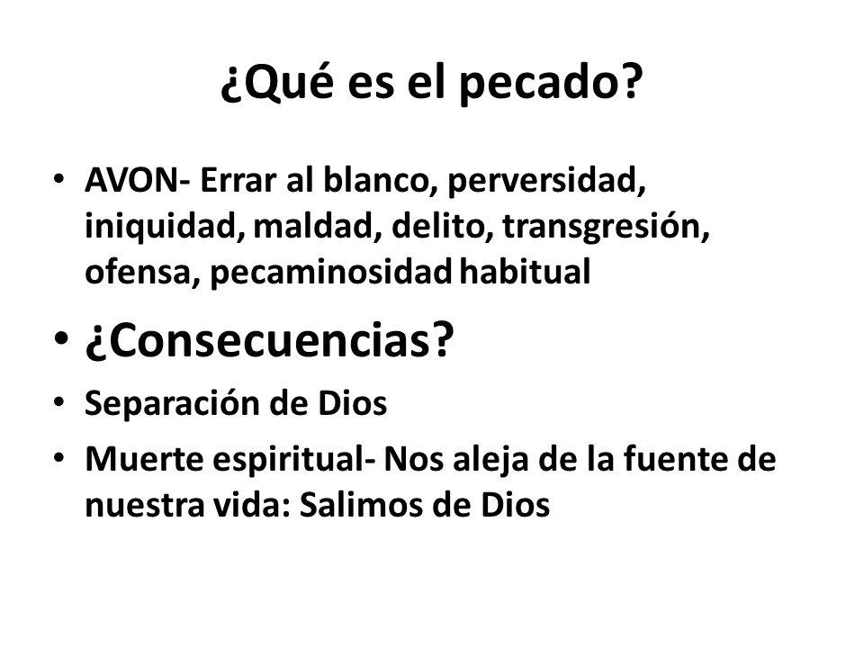 ¿Qué es el pecado? AVON- Errar al blanco, perversidad, iniquidad, maldad, delito, transgresión, ofensa, pecaminosidad habitual ¿Consecuencias? Separac