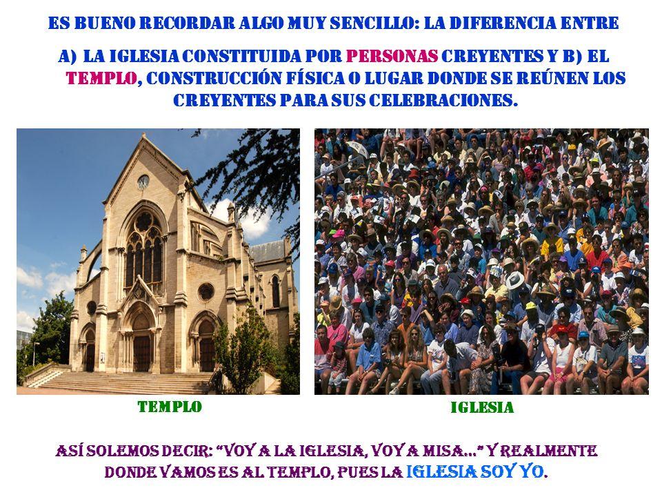 IGLESIA (asamblea de carácter religioso) es el nombre que la comunidad primera cristiana se dio a sí misma. Designamos con el nombre de Iglesia a la A
