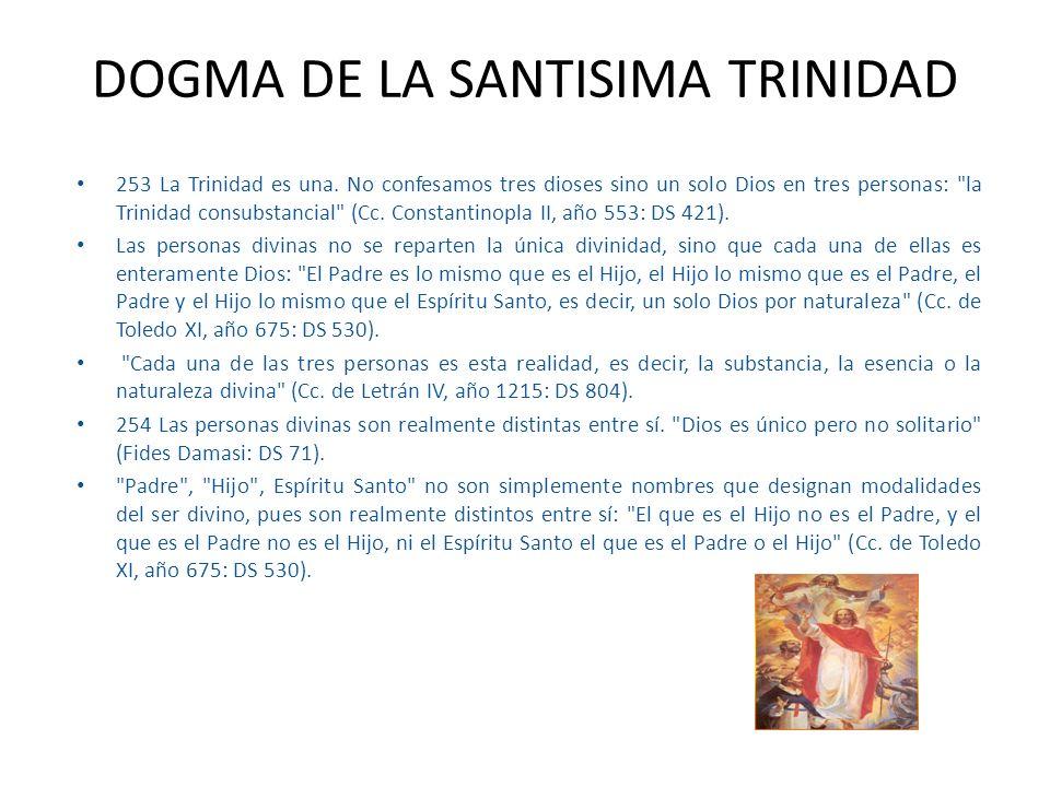 253 La Trinidad es una. No confesamos tres dioses sino un solo Dios en tres personas: