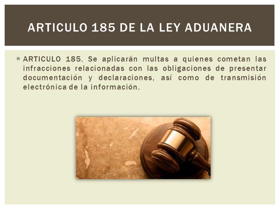 ARTICULO 185. Se aplicarán multas a quienes cometan las infracciones relacionadas con las obligaciones de presentar documentación y declaraciones, así