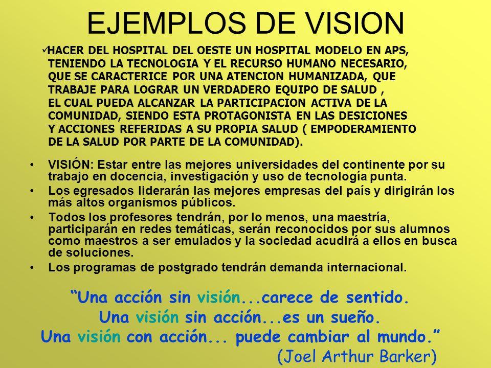 EJEMPLOS DE VISION HACER DEL HOSPITAL DEL OESTE UN HOSPITAL MODELO EN APS, TENIENDO LA TECNOLOGIA Y EL RECURSO HUMANO NECESARIO, QUE SE CARACTERICE PO