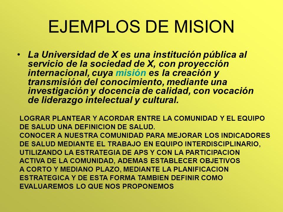 EJEMPLOS DE MISION La Universidad de X es una institución pública al servicio de la sociedad de X, con proyección internacional, cuya misión es la cre