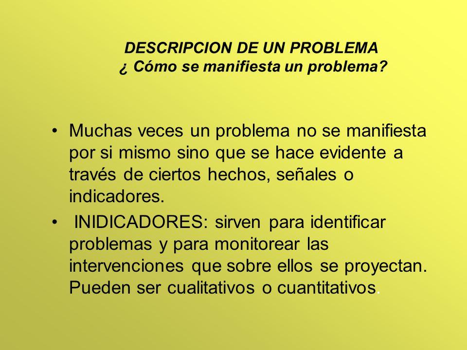DESCRIPCION DE UN PROBLEMA ¿ Cómo se manifiesta un problema? Muchas veces un problema no se manifiesta por si mismo sino que se hace evidente a través