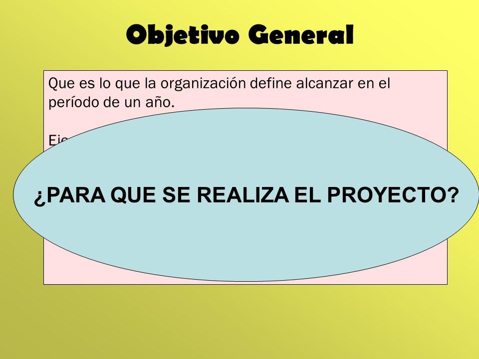Objetivo General Que es lo que la organización define alcanzar en el período de un año. Ejemplo: Mejorar las condiciones de vivienda, seguridad y salu