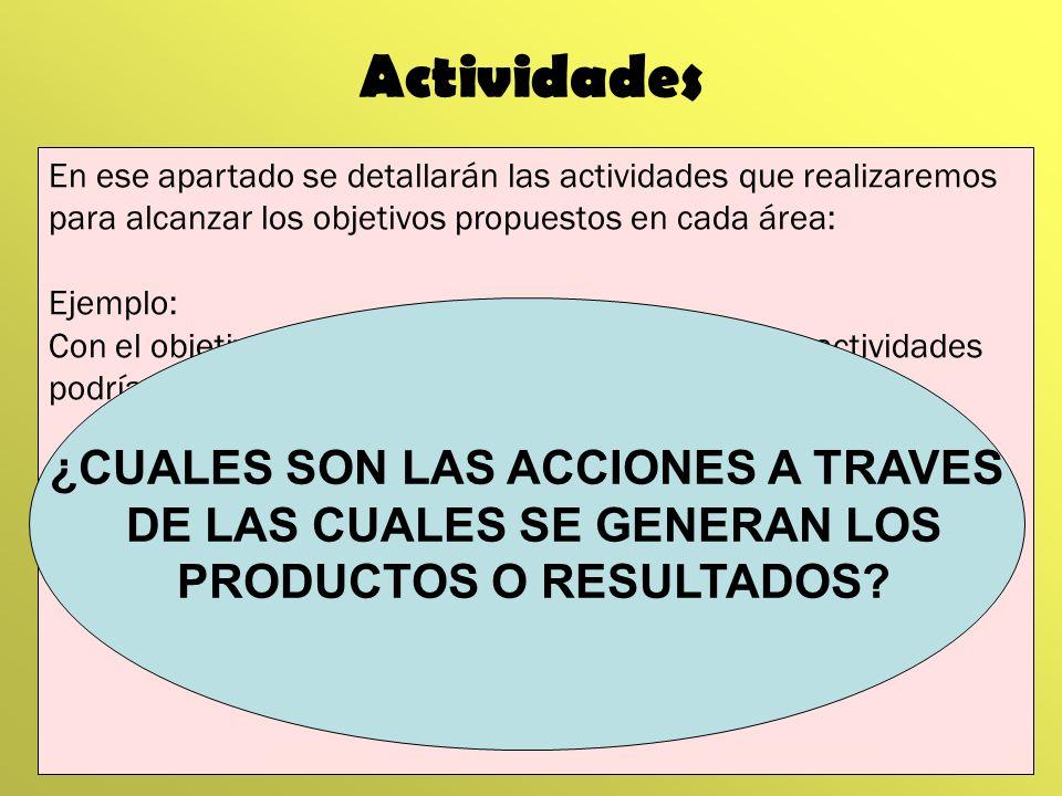 Actividades En ese apartado se detallarán las actividades que realizaremos para alcanzar los objetivos propuestos en cada área: Ejemplo: Con el objeti