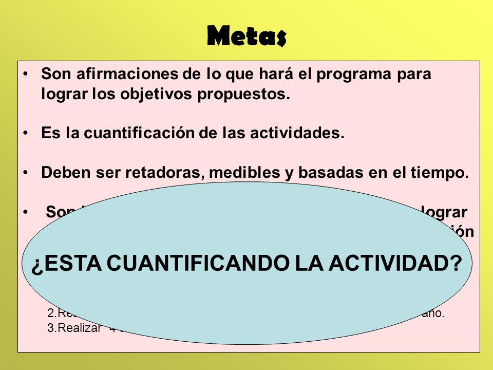 Metas Son afirmaciones de lo que hará el programa para lograr los objetivos propuestos. Es la cuantificación de las actividades. Deben ser retadoras,