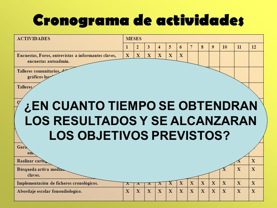 Cronograma de actividades ACTIVIDADESMESES 123456789101112 Encuestas, Foros, entrevistas a informantes claves, encuestas autoadmin. XXXXXX Talleres co