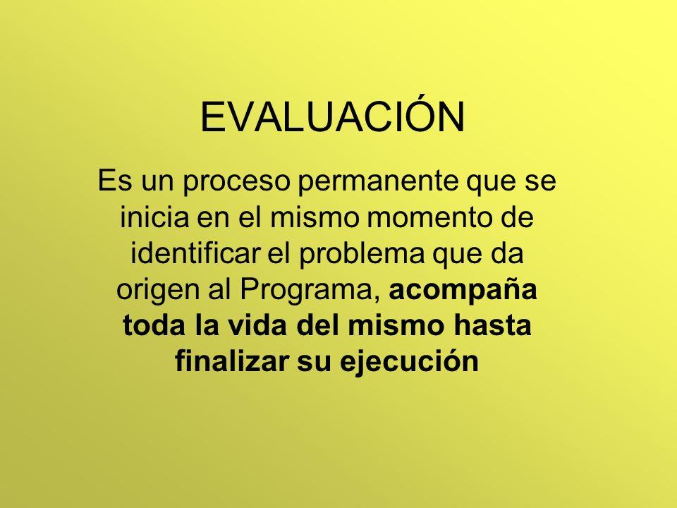 EVALUACIÓN Es un proceso permanente que se inicia en el mismo momento de identificar el problema que da origen al Programa, acompaña toda la vida del