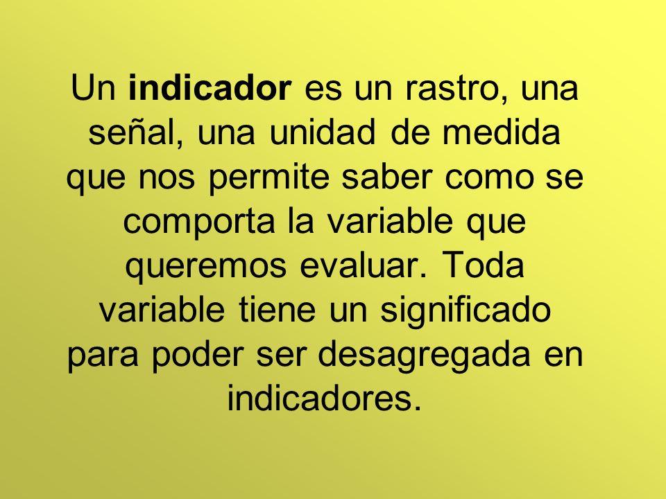 Un indicador es un rastro, una señal, una unidad de medida que nos permite saber como se comporta la variable que queremos evaluar. Toda variable tien