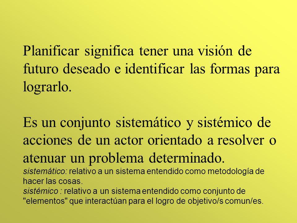 PLANIFICACION: Proceso de reflexión orientado y dirigido a la acción (Rovere)