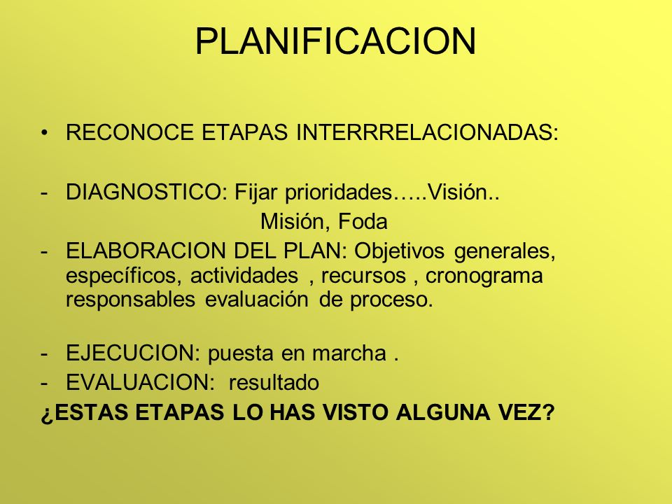 PLANIFICACION RECONOCE ETAPAS INTERRRELACIONADAS: -DIAGNOSTICO: Fijar prioridades…..Visión.. Misión, Foda -ELABORACION DEL PLAN: Objetivos generales,
