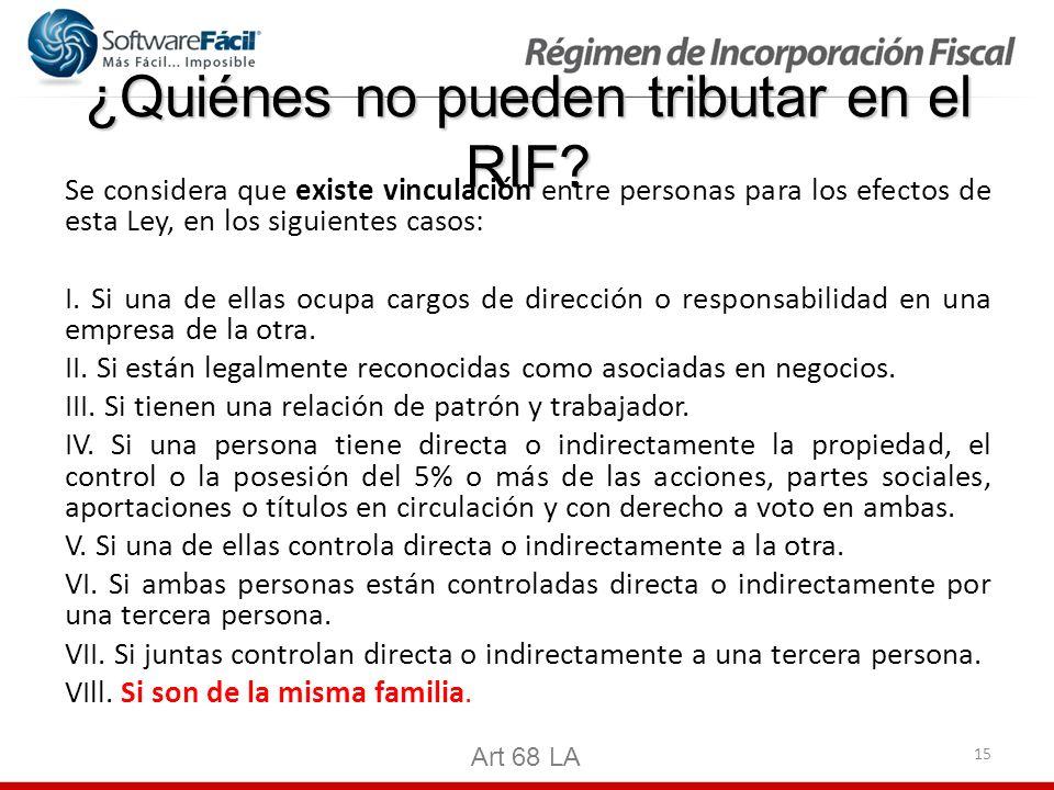15 ¿Quiénes no pueden tributar en el RIF? Se considera que existe vinculación entre personas para los efectos de esta Ley, en los siguientes casos: I.