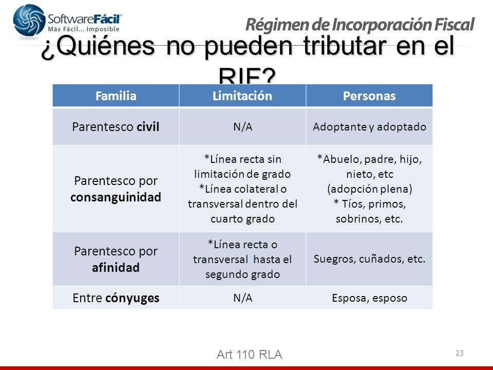 23 ¿Quiénes no pueden tributar en el RIF? Art 110 RLA FamiliaLimitaciónPersonas Parentesco civil N/AAdoptante y adoptado Parentesco por consanguinidad