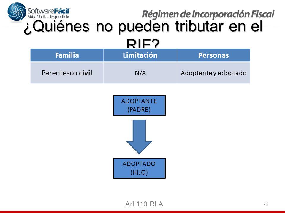 24 ¿Quiénes no pueden tributar en el RIF? Art 110 RLA FamiliaLimitaciónPersonas Parentesco civil N/AAdoptante y adoptado ADOPTANTE (PADRE) ADOPTADO (H