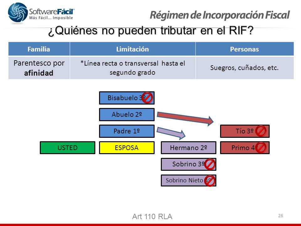 26 ¿Quiénes no pueden tributar en el RIF? Art 110 RLA FamiliaLimitaciónPersonas Parentesco por afinidad *Línea recta o transversal hasta el segundo gr