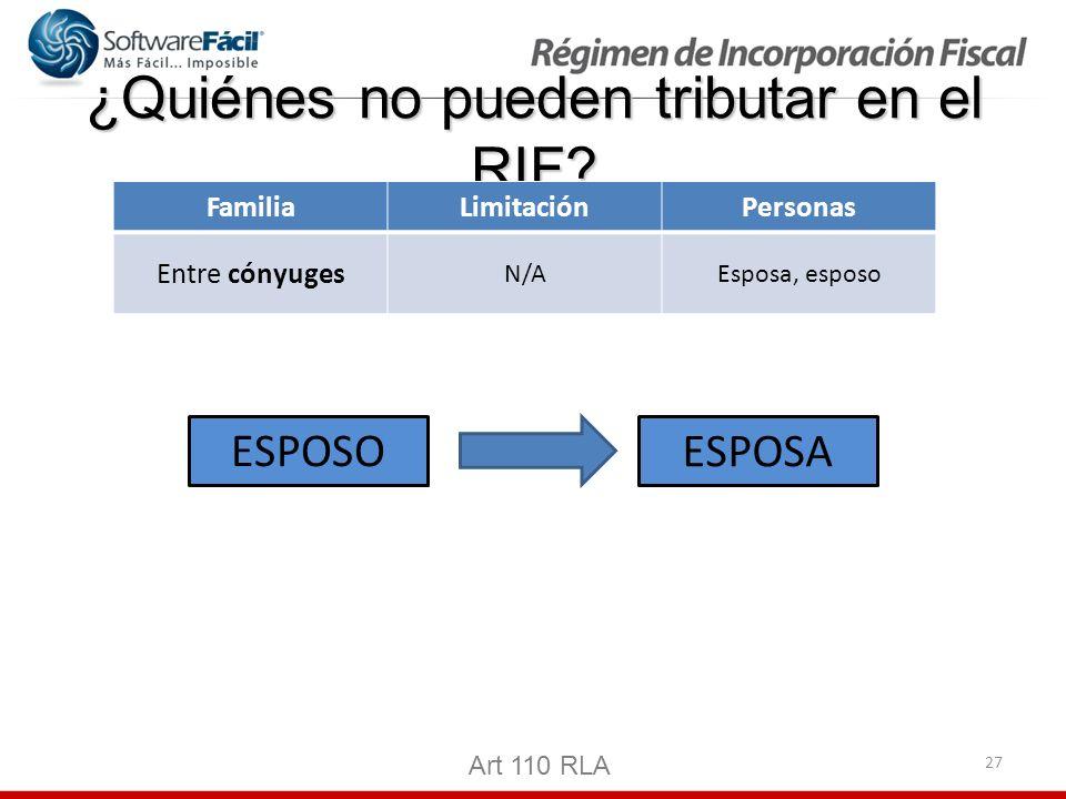 27 ¿Quiénes no pueden tributar en el RIF? Art 110 RLA FamiliaLimitaciónPersonas Entre cónyuges N/AEsposa, esposo ESPOSO ESPOSA