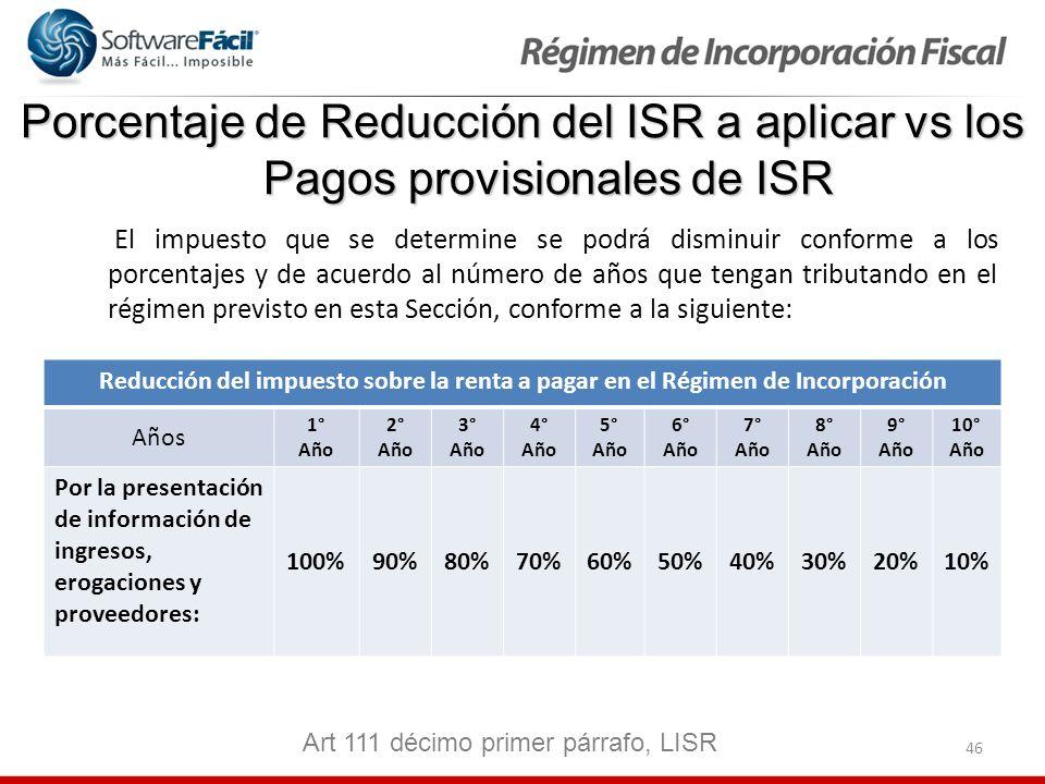 46 Porcentaje de Reducción del ISR a aplicar vs los Pagos provisionales de ISR El impuesto que se determine se podrá disminuir conforme a los porcenta