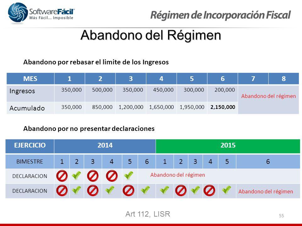 55 Abandono del Régimen Art 112, LISR MES12345678 Ingresos 350,000500,000350,000450,000300,000200,000 Abandono del régimen Acumulado 350,000850,0001,2