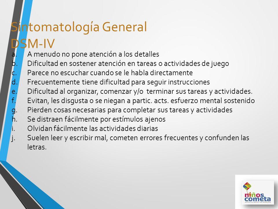 Sintomatología General DSM-IV a.A menudo no pone atención a los detalles b.Dificultad en sostener atención en tareas o actividades de juego c.Parece n