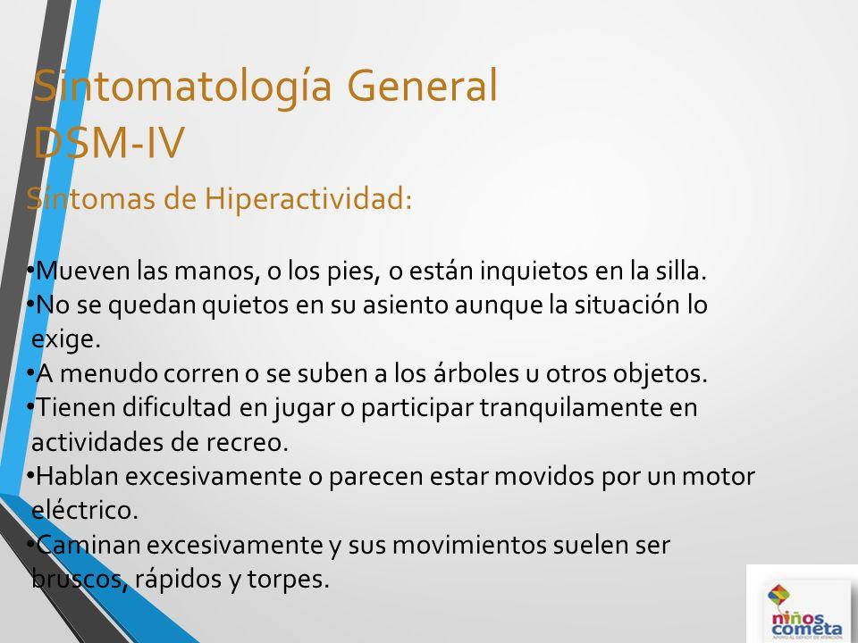 Sintomatología General DSM-IV Síntomas de Hiperactividad: Mueven las manos, o los pies, o están inquietos en la silla. No se quedan quietos en su asie