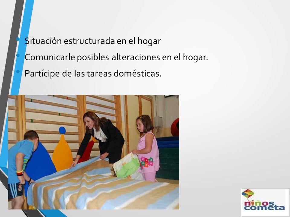 Situación estructurada en el hogar Comunicarle posibles alteraciones en el hogar. Partícipe de las tareas domésticas.