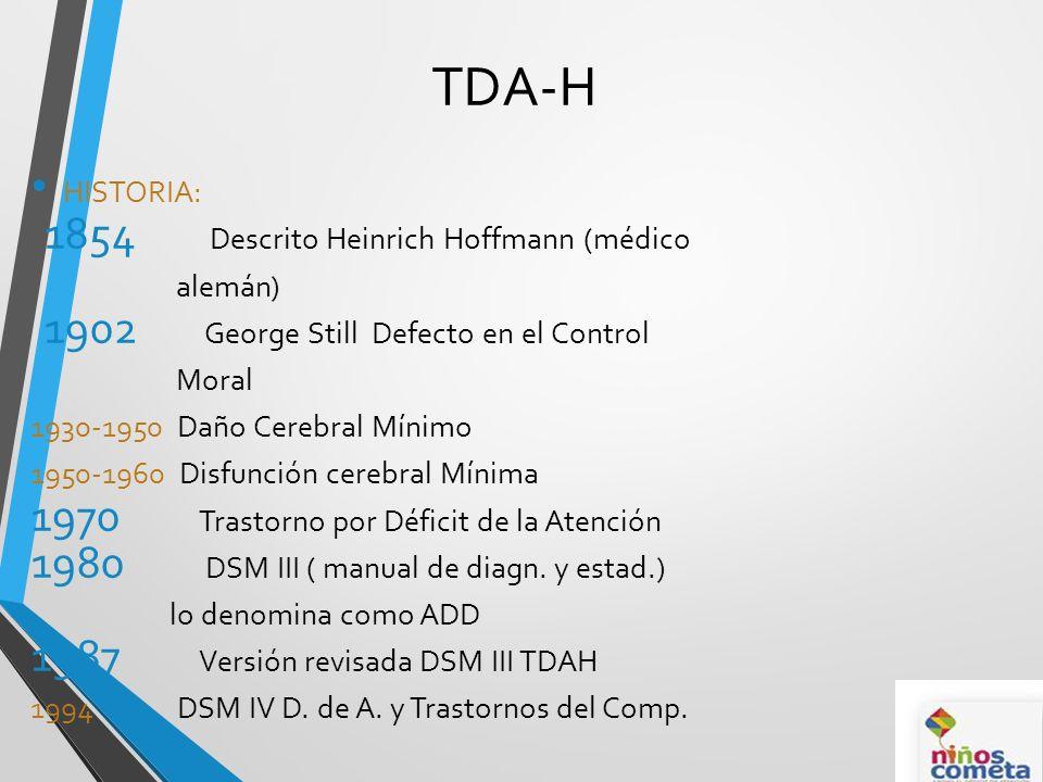 TDA-H HISTORIA: 1854 Descrito Heinrich Hoffmann (médico alemán) 1902 George Still Defecto en el Control Moral 1930-1950 Daño Cerebral Mínimo 1950-1960