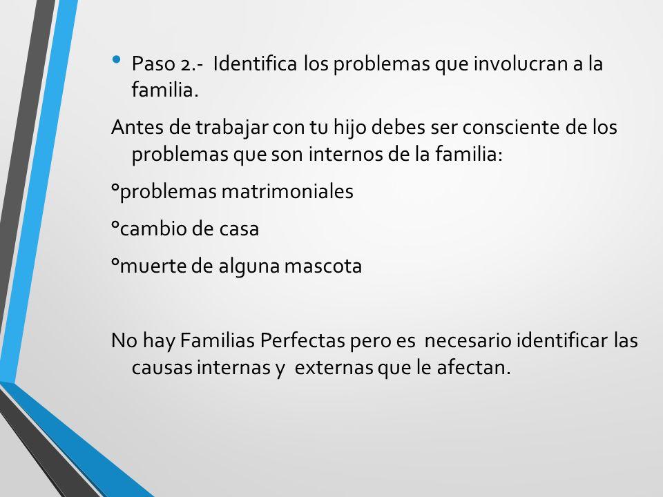 Paso 2.- Identifica los problemas que involucran a la familia. Antes de trabajar con tu hijo debes ser consciente de los problemas que son internos de