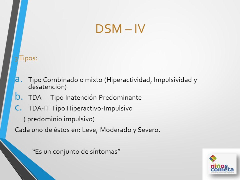DSM – IV 3 Tipos: a. Tipo Combinado o mixto (Hiperactividad, Impulsividad y desatención) b. TDA Tipo Inatención Predominante c. TDA-H Tipo Hiperactivo