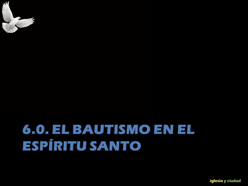 © Dr. Jerry Brown 2010 6.0. EL BAUTISMO EN EL ESPÍRITU SANTO