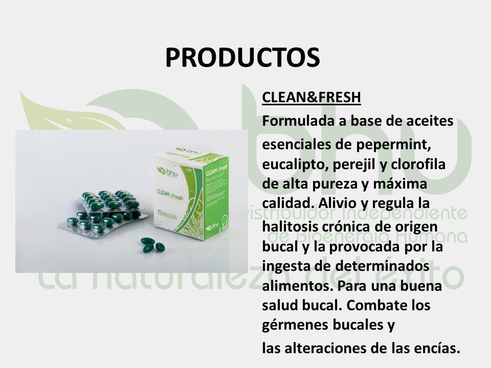 PRODUCTOS CLEAN&FRESH Formulada a base de aceites esenciales de pepermint, eucalipto, perejil y clorofila de alta pureza y máxima calidad. Alivio y re