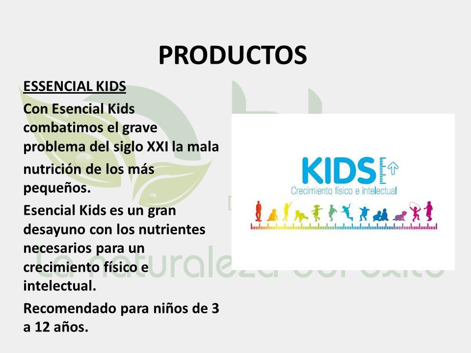 PRODUCTOS ESSENCIAL KIDS Con Esencial Kids combatimos el grave problema del siglo XXI la mala nutrición de los más pequeños. Esencial Kids es un gran