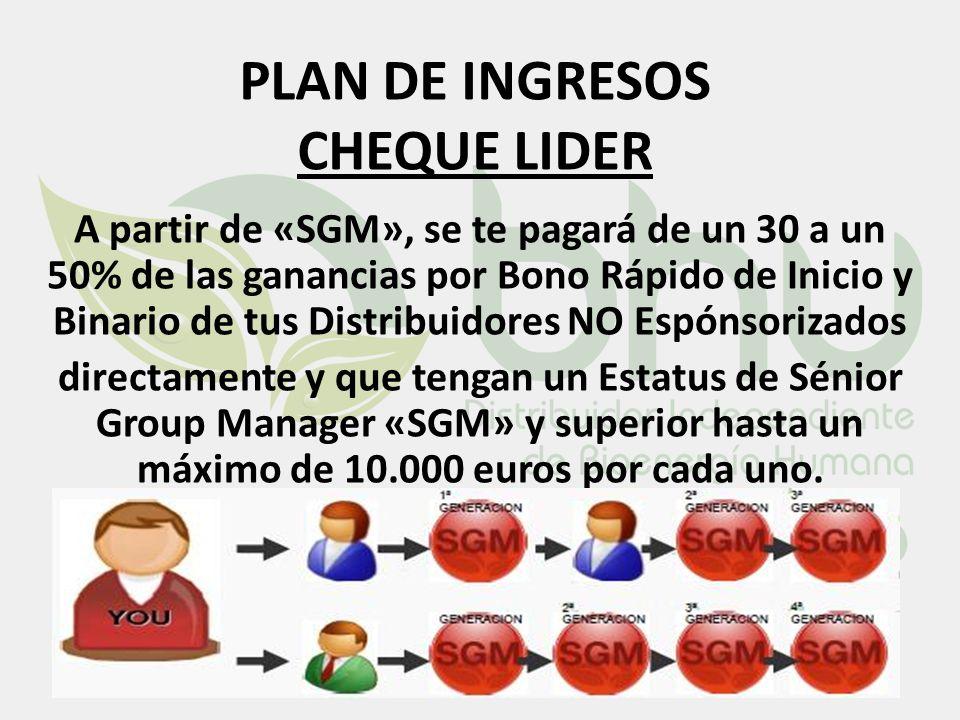 PLAN DE INGRESOS CHEQUE LIDER A partir de «SGM», se te pagará de un 30 a un 50% de las ganancias por Bono Rápido de Inicio y Binario de tus Distribuid