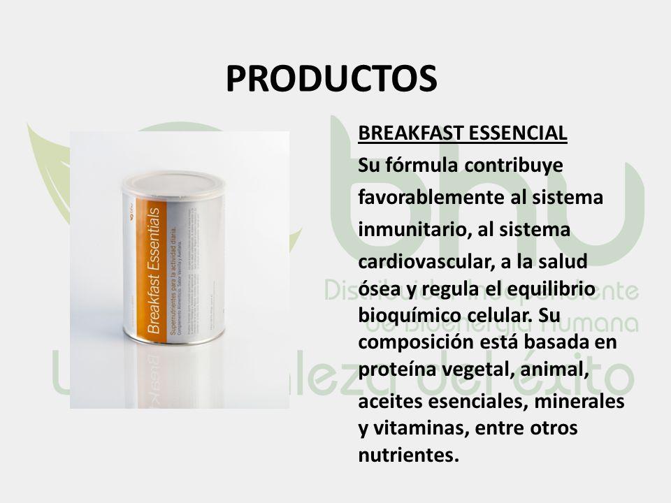 PRODUCTOS BREAKFAST ESSENCIAL Su fórmula contribuye favorablemente al sistema inmunitario, al sistema cardiovascular, a la salud ósea y regula el equi