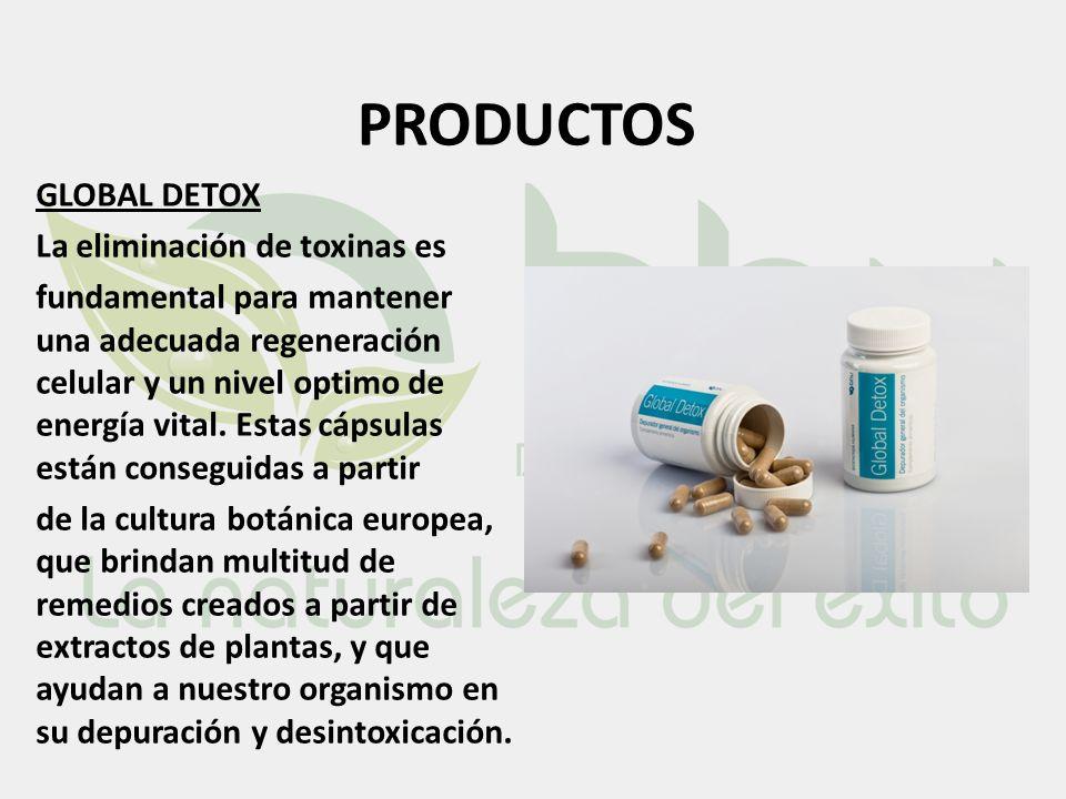 PRODUCTOS GLOBAL DETOX La eliminación de toxinas es fundamental para mantener una adecuada regeneración celular y un nivel optimo de energía vital. Es
