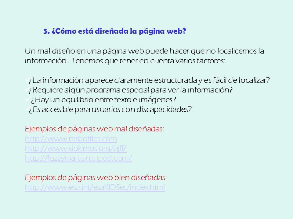 5. ¿Cómo está diseñada la página web.