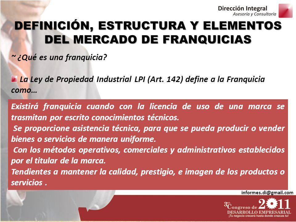 DEFINICIÓN, ESTRUCTURA Y ELEMENTOS DEL MERCADO DE FRANQUICIAS informes.di@gmail.com ~ ¿Qué es una franquicia? La Ley de Propiedad Industrial LPI (Art.